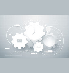 abstract gear wheel geometric and social icons vector image