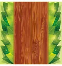 Background with leaves and wooden board vector image