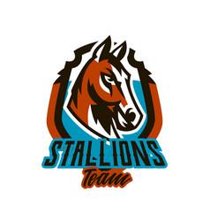 colorful logo sticker horse emblem beautiful vector image