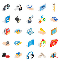 Film business icons set isometric style vector