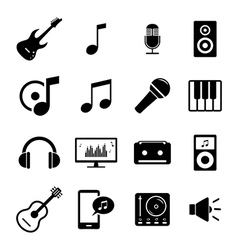 Set of flat icons - audio music and sound related vector image