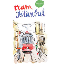 watercolor old red tram in istanbul vector image