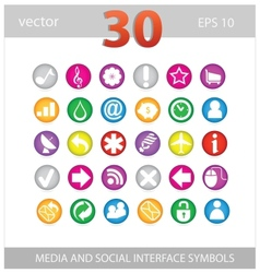 Web colored media and social sign set vector image vector image