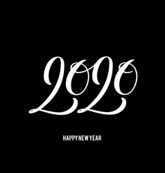 2020 happy new year poster with hand drawn vector