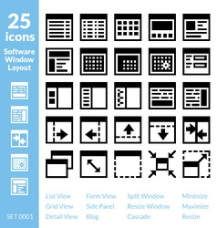 25 icons software window layout vector