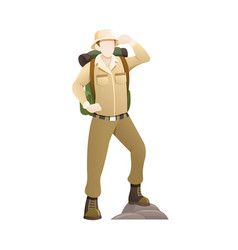an explorer with hat and backpack vector image
