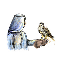 Arabian man with a falcon from a splash of vector