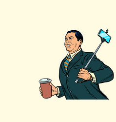 asian businessman with a selfie stick and coffee vector image