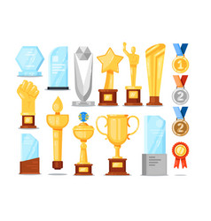 award trophy set isolated gold cup medal star vector image