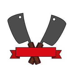 barbecue knives utensils emblem vector image