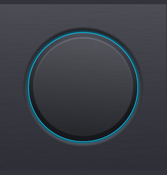 Black matted plastic button with blue backlight vector