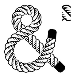 Black rope ampersand symbol vector