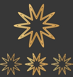 Bronze line star logo design set vector