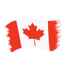Brushstroke painted flag canada vector