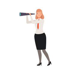 businesswoman with telescope character vector image