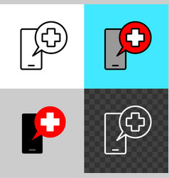 call doctor symbol smartphone silhouette with vector image