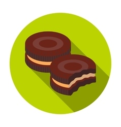 Chocolate sandwich cookies icon in flat style vector