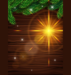 christmas card on a background wooden planks vector image