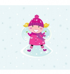Christmas girl in pink costume vector