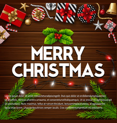 christmas wooden background with gift box vector image