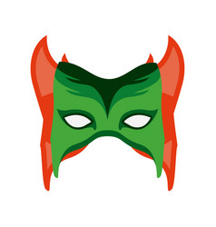 colorful silhouette with festive mask with horns vector image