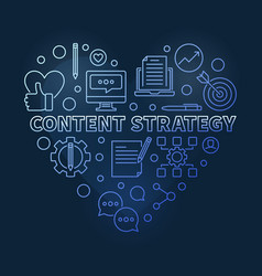 content strategy linear blue heart vector image