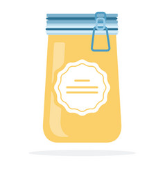 crystallized honey in a jar flat isolated vector image