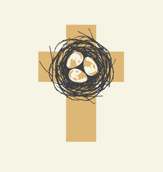 cute easter cross design with eggs in nest vector image