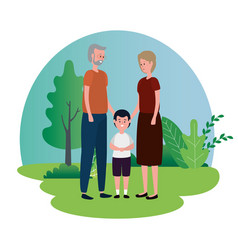 Cute grandparents couple with grandson vector
