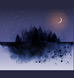 Dark wild forest and night sky background vector