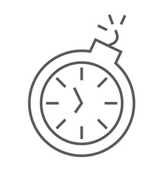 deadline thin line icon time and clock stopwatch vector image