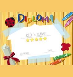 Diploma template with crayons and ladybug vector