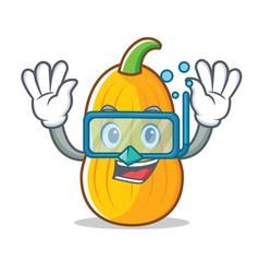 Diving butternut squash character cartoon vector