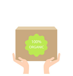 eco box in hand ecology concept vector image