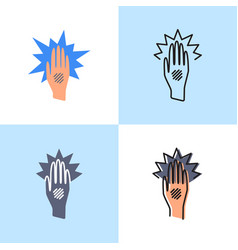 Eczema hand icon set in flat and line style vector