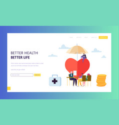 Family health insurance policy sign landing page vector