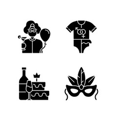 Family party greeting black glyph icons set vector