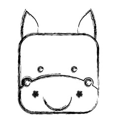Figure square donkey face animal vector