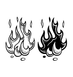 flame of fire stylized sketch vector image