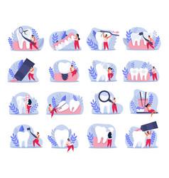 Flat dental health icons vector