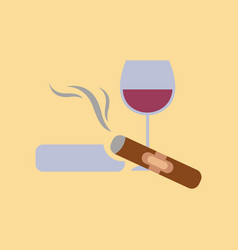 flat icon stylish background poker cigar glass of vector image