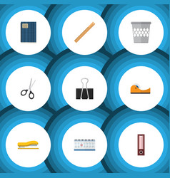 Flat icon tool set of straightedge trashcan date vector