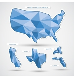 Geometric blue usa map and states vector image