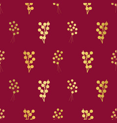 Gold foil berries on red seamless vector