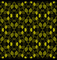 Green vintage leaves seamless pattern ornamental vector