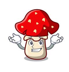 Grinning amanita mushroom character cartoon vector