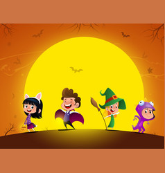Group of kids in halloween costume in the vector