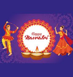 Happy navratri celebration with dancers couple vector