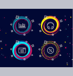 headphones investment and video content icons vector image