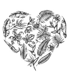 heart floral design with black and white monstera vector image